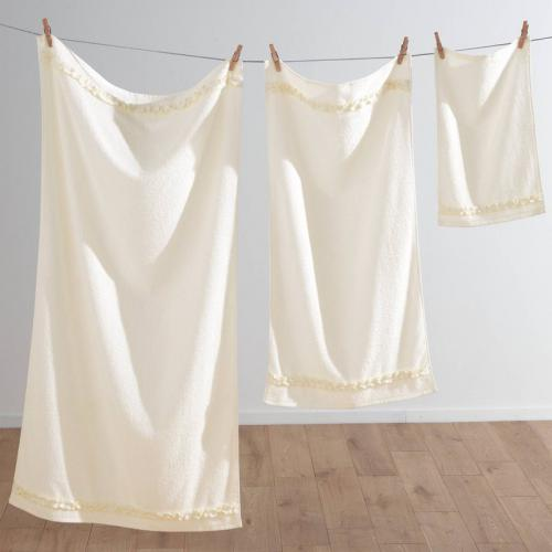 3S. x Collection (Nos Imprimés) - Serviette de bain éponge 400 gm² FAN - blanc - Linge de maison