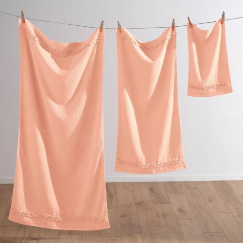 3 SUISSES Collection - Serviette de bain en éponge bouclette 400 gm² avec volant fantaisie - Orange - Serviette de toilette