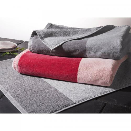 3 SUISSES Collection - Tapis de salle de bain COLORBLOCK - Rouge - Linge de maison