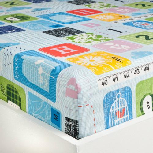3S. x Collection - Drap-housse lit évolutif coton SCHOOL - multicolore - Linge de lit