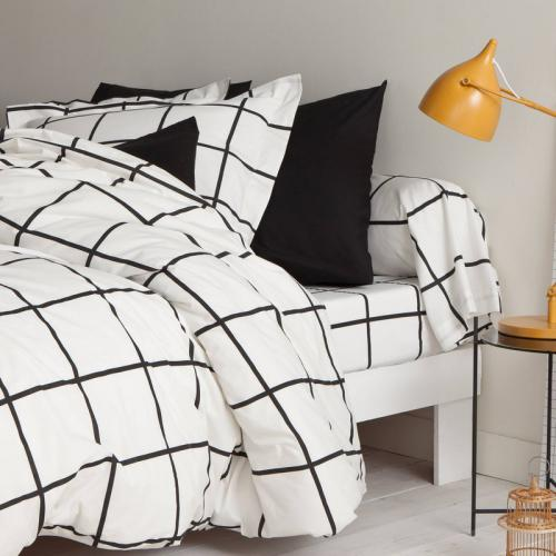 3S. x Collection - Drap-housse coton PIASTRELLA - noir/blanc - Linge de lit