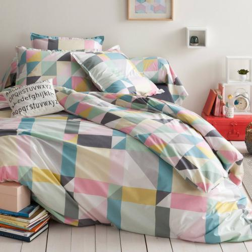 3 Suisses Collection - Housse de couette coton imprimé Triangles - Multicolore - Housse de couette adulte