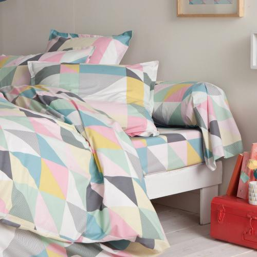 3 SUISSES Collection - Drap-housse coton imprimé Triangles - Multicolore - Linge de maison