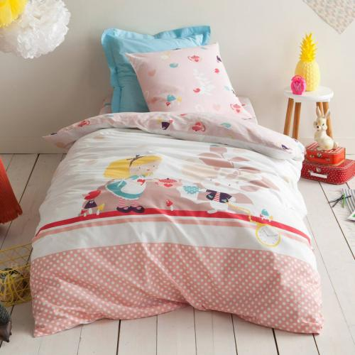 3S. x Collection - Housse de couette coton FORET ENCHANTEE - rose - Linge de maison