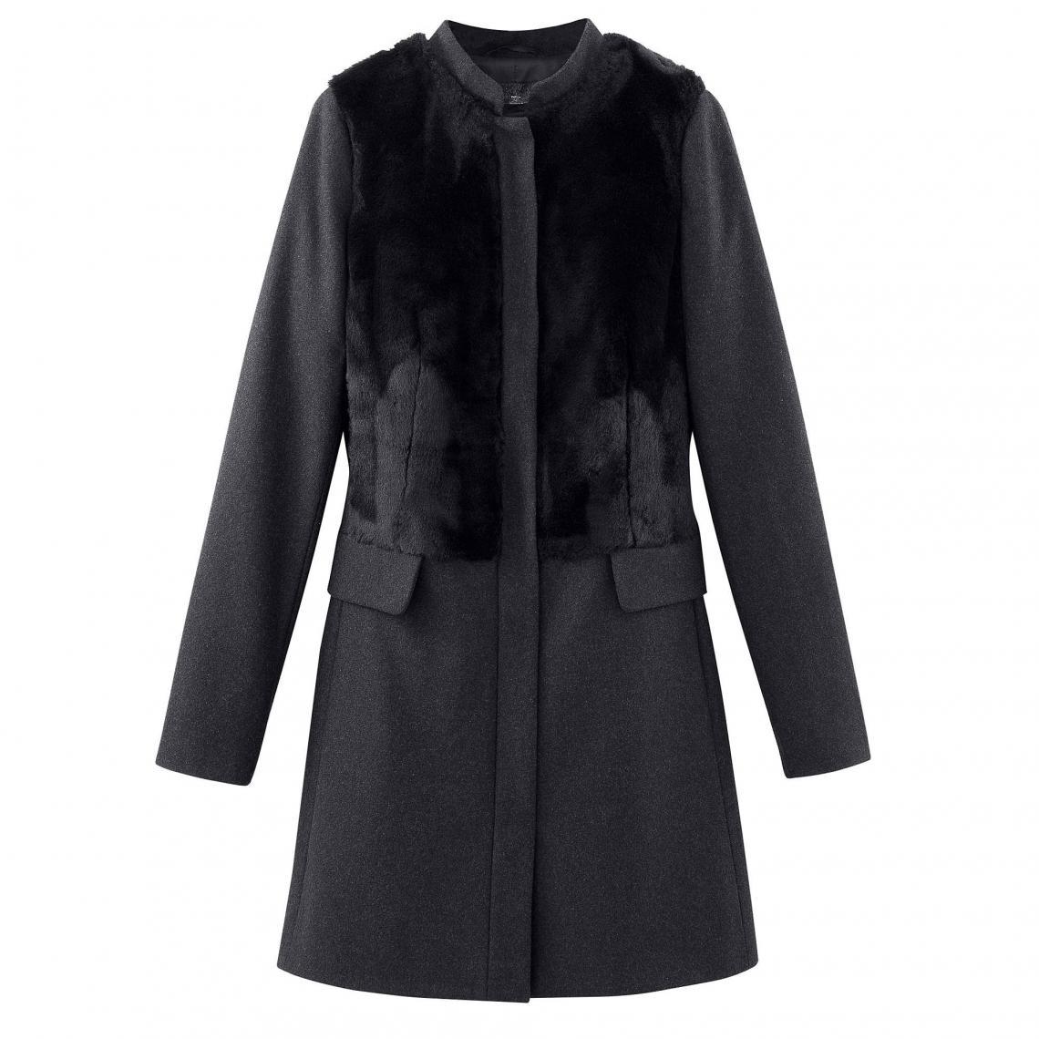 manteau bimatière à capuche gris