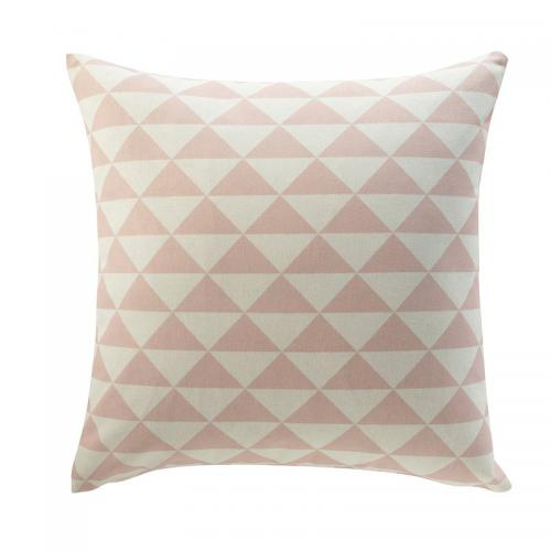 3 SUISSES Collection - Housse de coussin coton déco triangles - Rose - Linge de maison