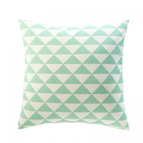 3 SUISSES Collection - Housse de coussin coton déco triangles - Vert - Promotions Linge de maison