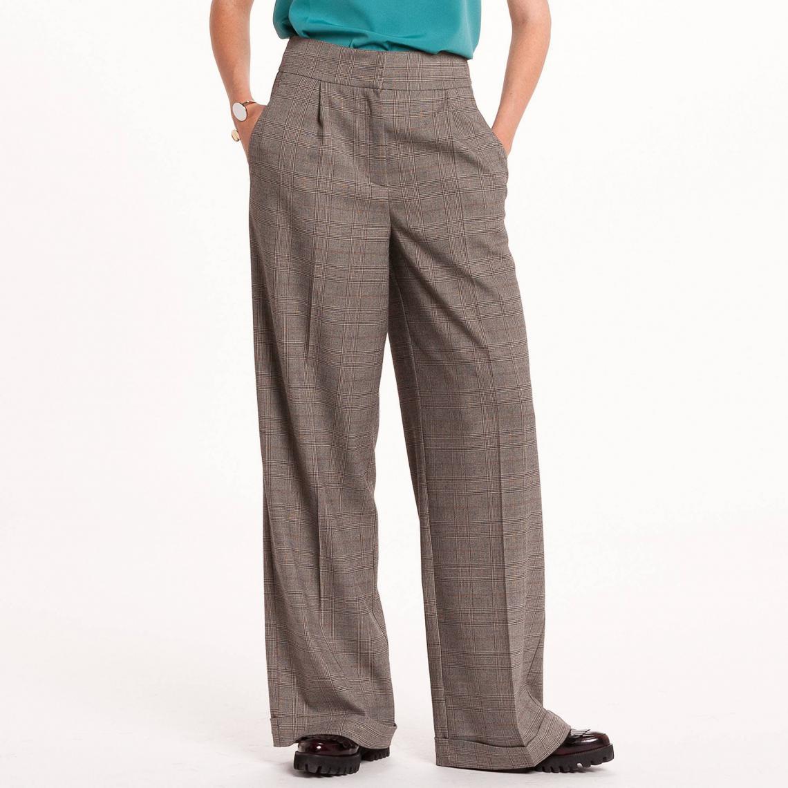 pantalon taille haute large prince de galle gris 3 suisses. Black Bedroom Furniture Sets. Home Design Ideas