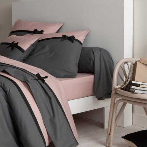 3S. x Collection (Nos Imprimés) - Drap plat percale coton ROMAN - gris/rose - Drap plat