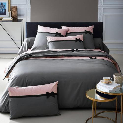 3 Suisses Collection - Housse de couette percale coton Roman - Gris - Promos Linge de Maison
