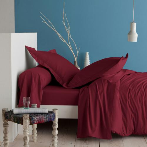 3 SUISSES Collection - Drap-housse coton uni PERCALE - Rouge - Linge de maison