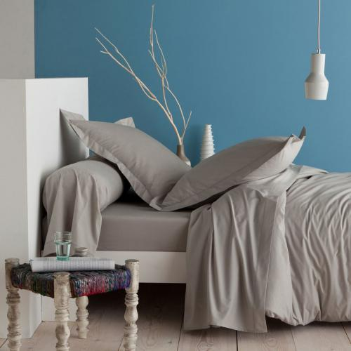 3 SUISSES Collection - Drap-housse coton uni PERCALE - Gris - Linge de maison