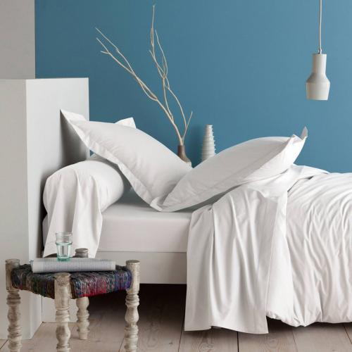 3 SUISSES Collection - Drap-housse coton uni PERCALE - Blanc - Linge de maison