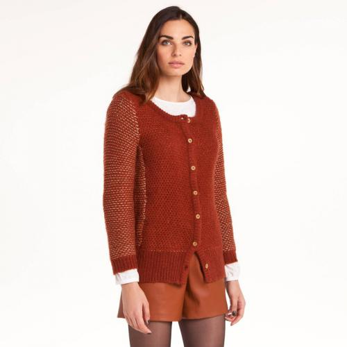 3 SUISSES Collection - Gilet maille bouclette femme 3 SUISSES Collection - Marron - Gilets col rond femme