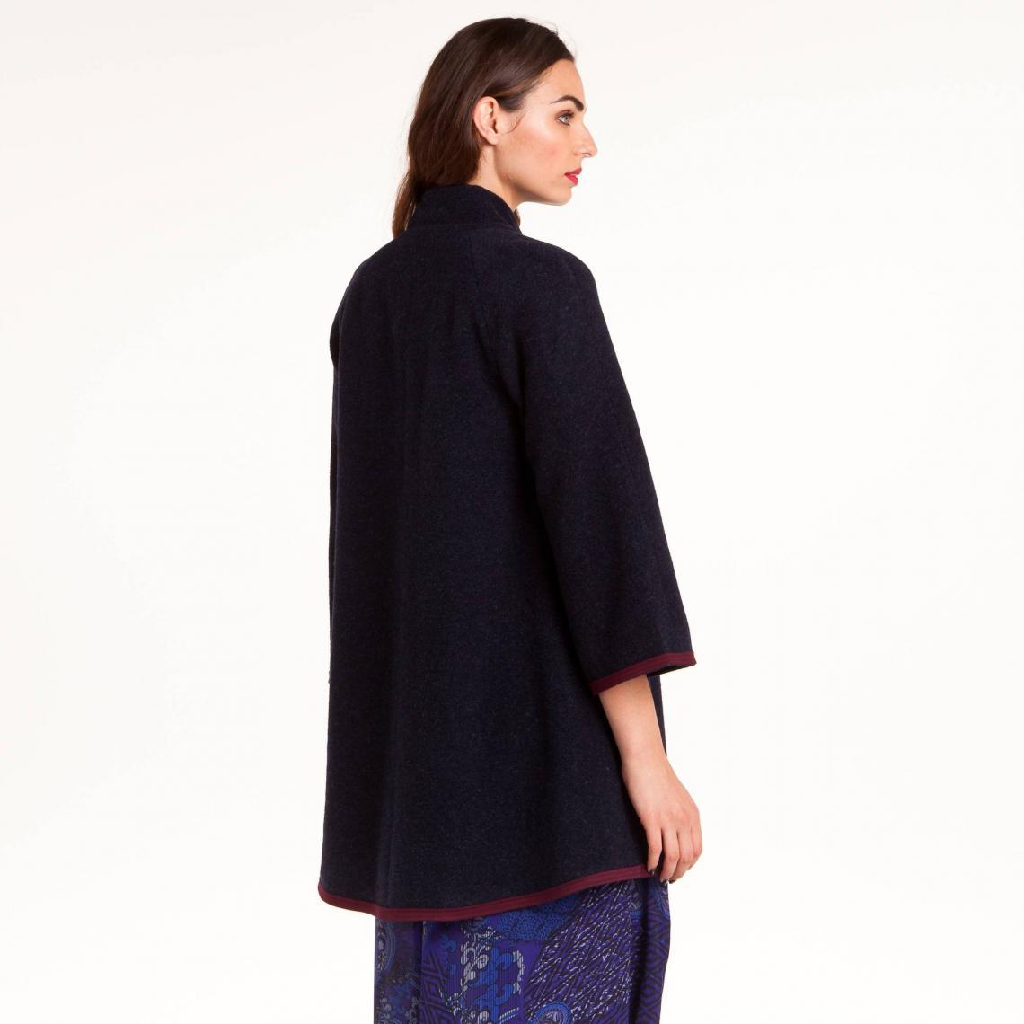 3cc87b3153c37 Manteau uni manches longues femme 3 Suisses Collection - Bleu Marine ...