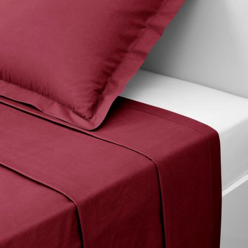 3 SUISSES Collection - Drap coton uni PERCALE - Rouge - Linge de maison