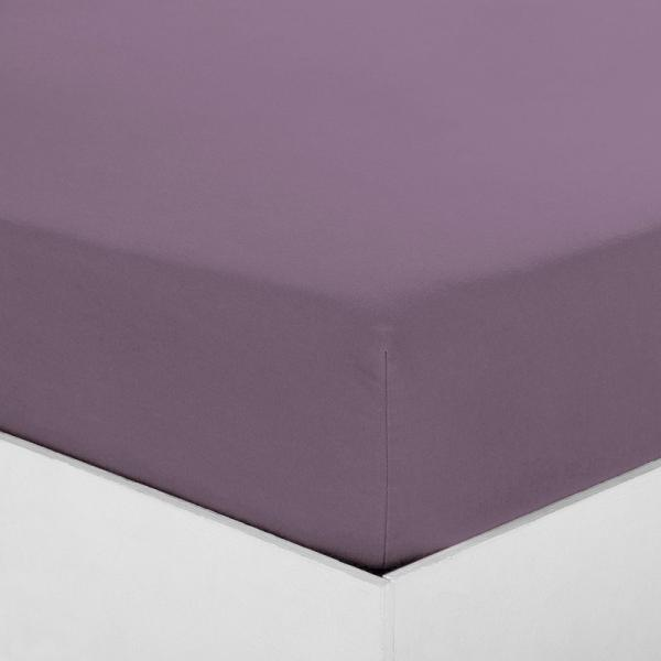 Drap-housse coton uni PERCALE - Violet 3 SUISSES Collection Linge de maison