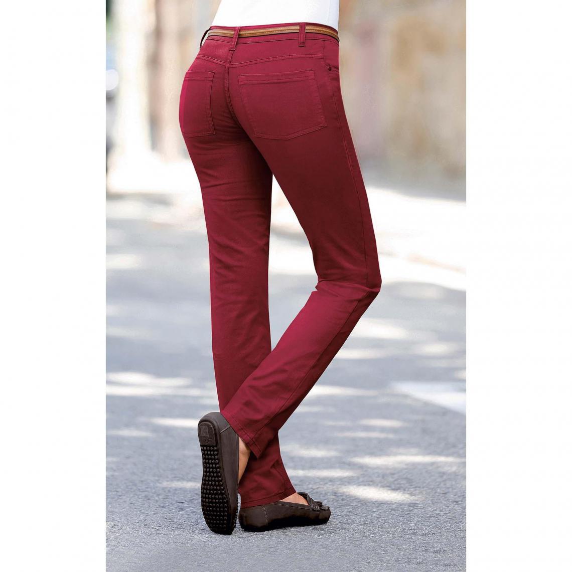 Pantalon coupe slim en twill élastique Venca - Rouge - 3 SUISSES - Modalova