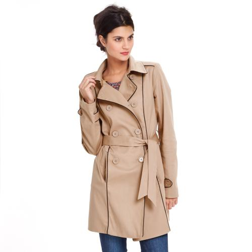 3S. x Collection - Trench Détails Cuir Synthétique - beige - Trench