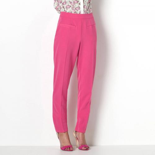 3S. x Collection - Pantalon cigarette taille haute femme - Rose - La mode Rose