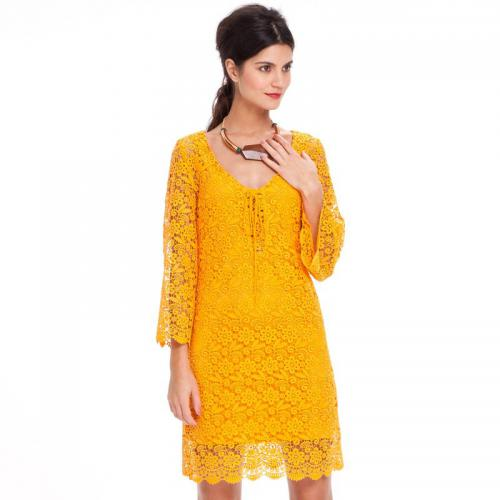 3 SUISSES Collection - Robe courte manches 34 en guipure femme - Jaune - Robes femme