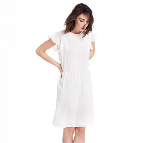 3 SUISSES Collection - Robe courte manches papillon encolure ronde plumetis femme - Blanc - Robes chic femme