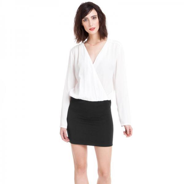 Robe Bi Matiere Bicolore Manches Longues Femme Noir Et Blanc 3 Suisses