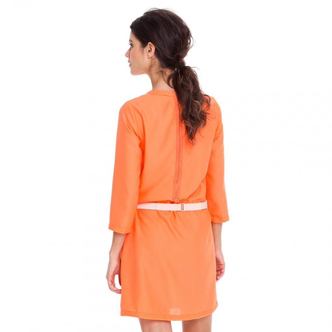 afc560d16ee68 Robe housse manches longues fluide ample femme - Orange | 3 SUISSES