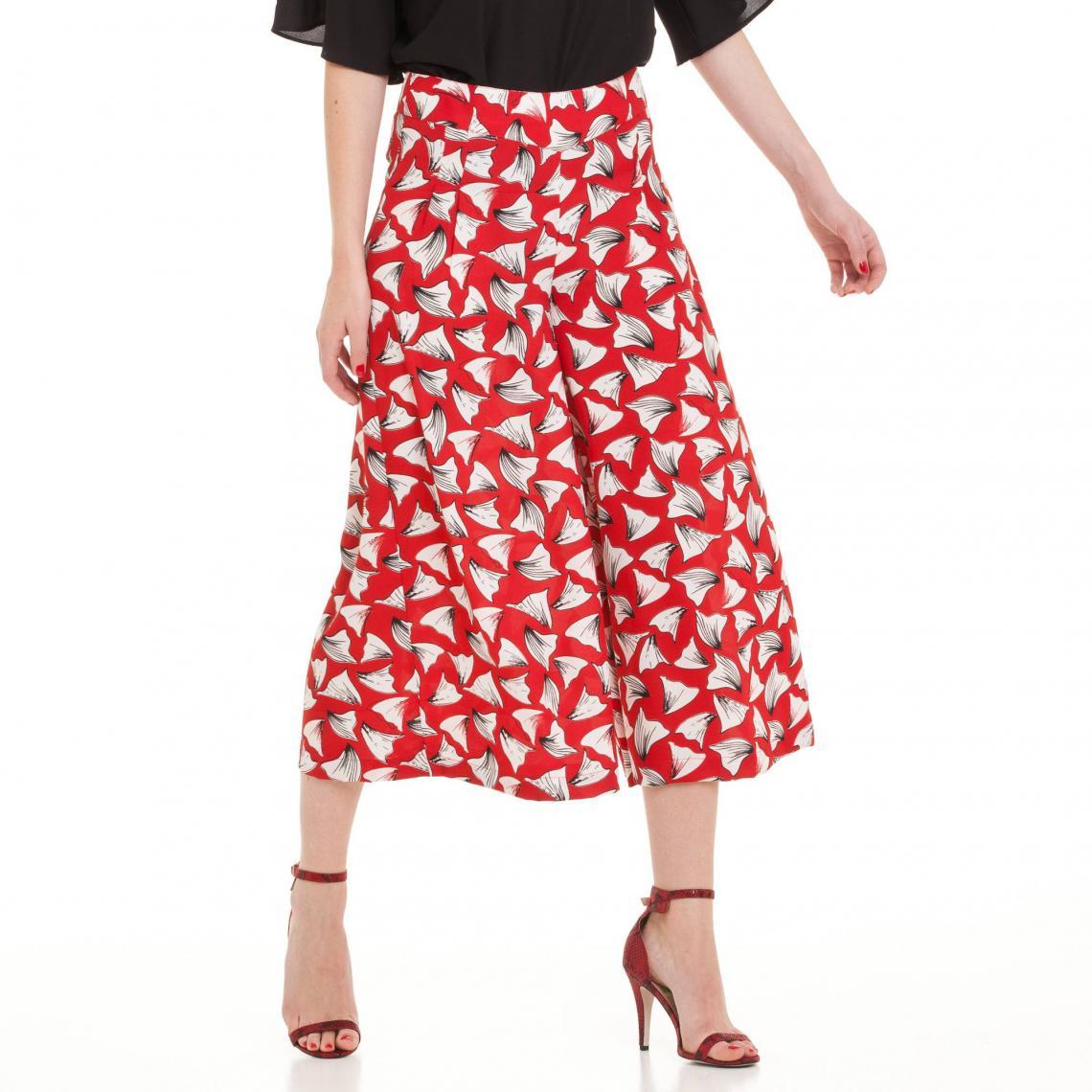 1349bb79ea42b Jupe-culotte fluide imprimée extra large femme - Bicolore Rouge 3 Suisses  Collection Femme