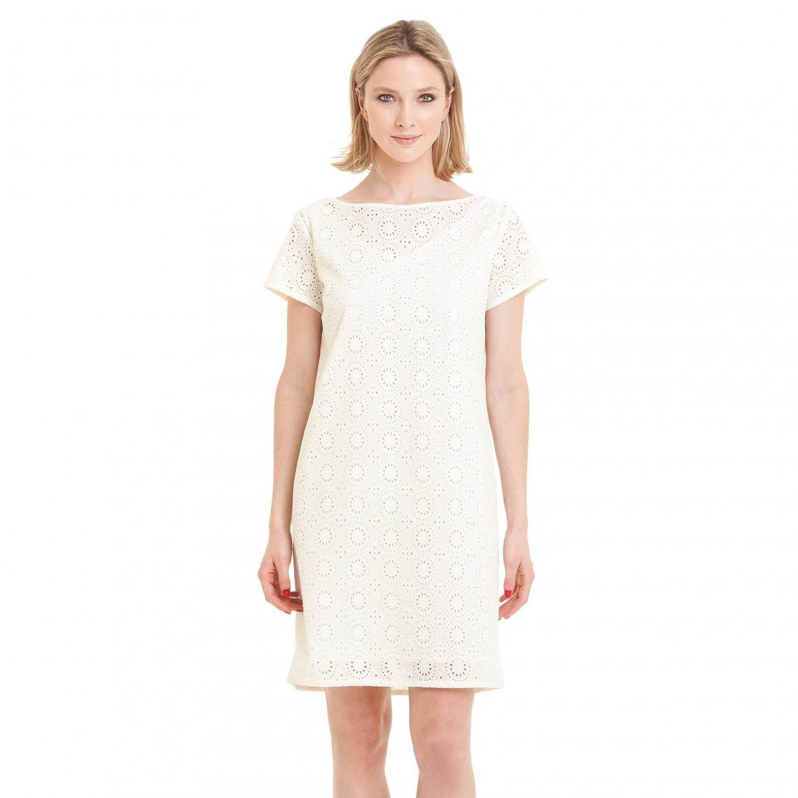 Robe courte manches courtes broderie anglaise femme - Blanc 3 SUISSES  Collection Femme 9c0b51dc612