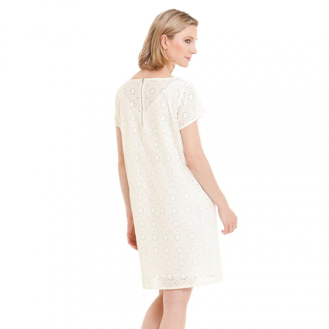 Robe courte manches courtes broderie anglaise femme - Blanc  559c7e0820c