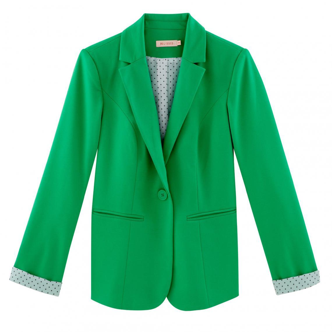 f6bd7d529e3efe Veste tailleur femme à Doublure imprimée fantaisie - vert | 3 SUISSES