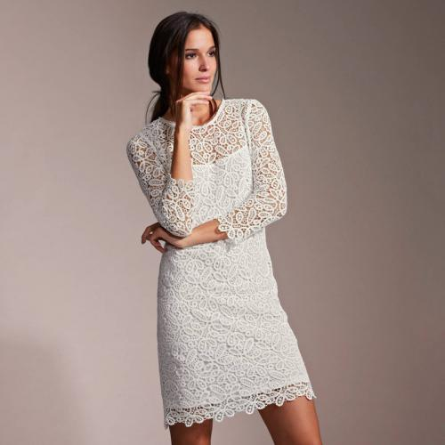 05b3abb3b561 3 SUISSES Collection - Robe courte de soirée doublée dentelle guipure femme  PREMIUM - Blanc -