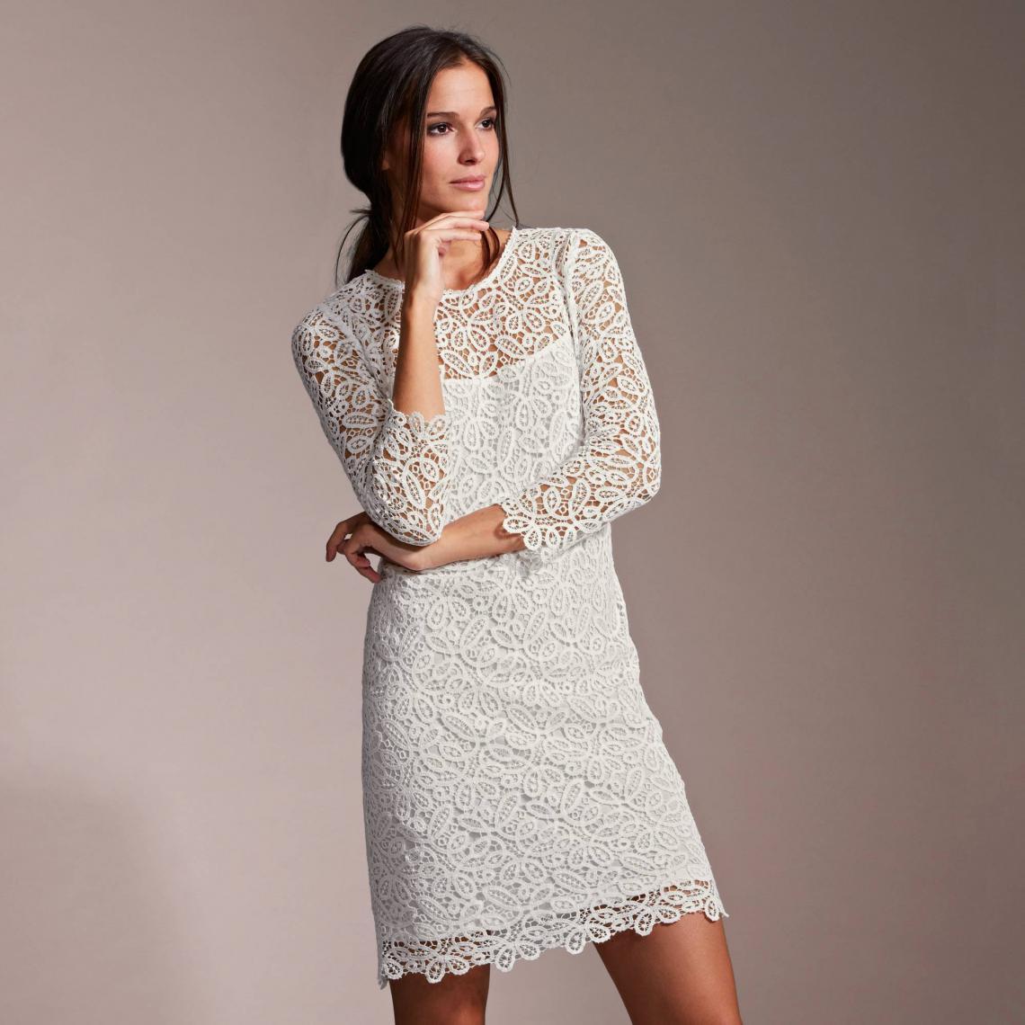 e2caa0e6d38 Robe courte de soirée doublée dentelle guipure femme PREMIUM - Blanc 3  SUISSES Collection Femme