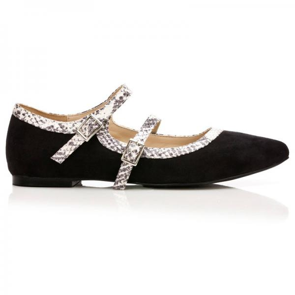 Ballerines pointues bicolores double bride femme - Noir 3 SUISSES Collection Femme