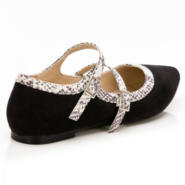 Ballerines pointues bicolores double bride femme - Noir 3 SUISSES Collection
