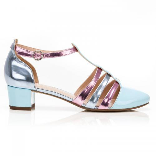 3 SUISSES Collection - Sandales à brides multicolores à talon femme - Multicolore - Promos Femme