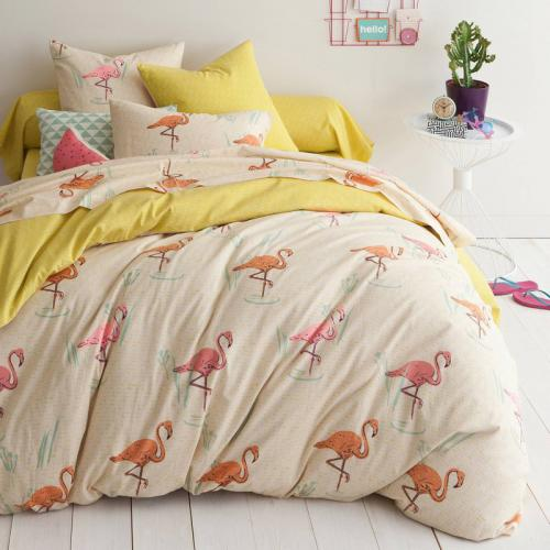 3 Suisses Collection - Housse de couette coton imprimé flamants Gaston - Multicolore - Housse de couette adulte