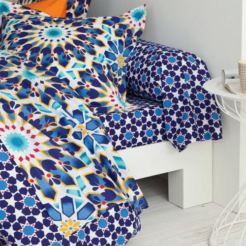 3S. x Collection - Drap plat coton ISABELLE - bleu - Drap plat