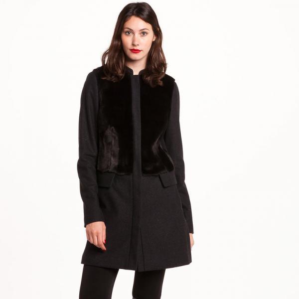 manteau bi matière femme gris