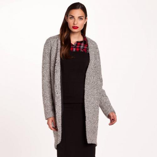 e1c436c25461 3 SUISSES Collection - Manteau sans col effet tricot femme 3 SUISSES  Collection - Noir -