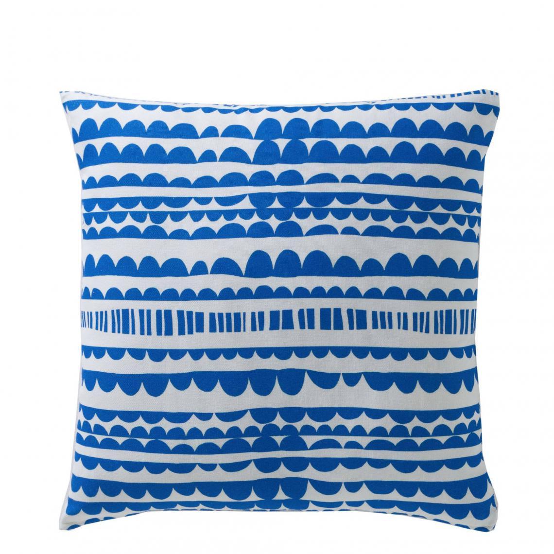 Housse de coussin coton imprimé Binche   Bleu | 3 SUISSES
