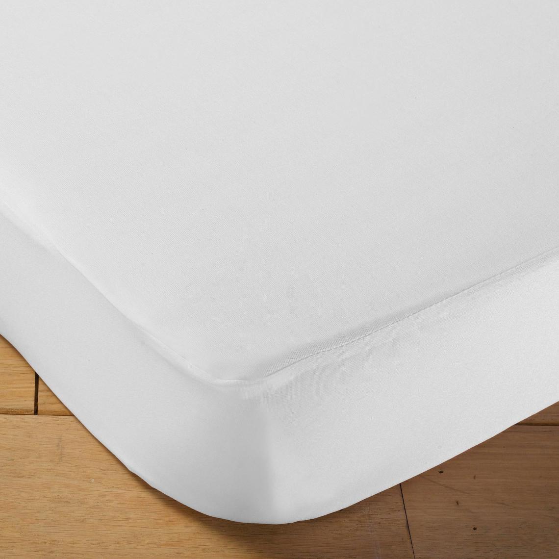 Alèse jersey imperméable forme drap housse pour lit bébé   Blanc