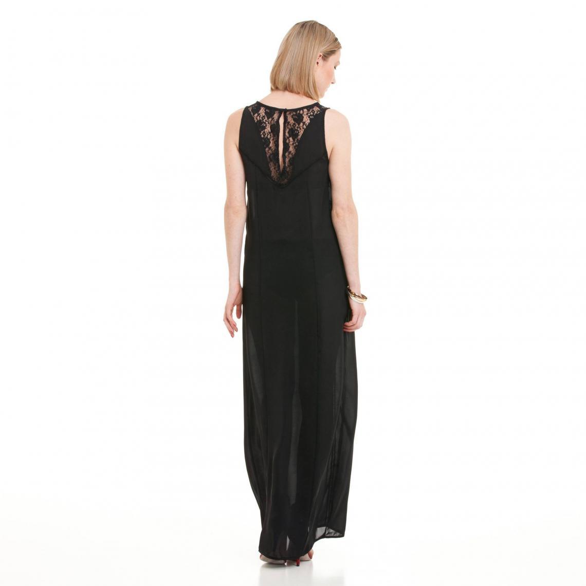 54qajclr3 Longue Femme Robe Sans Et Noir3 Dentelle Ajouré Manches Galon jA4L35R