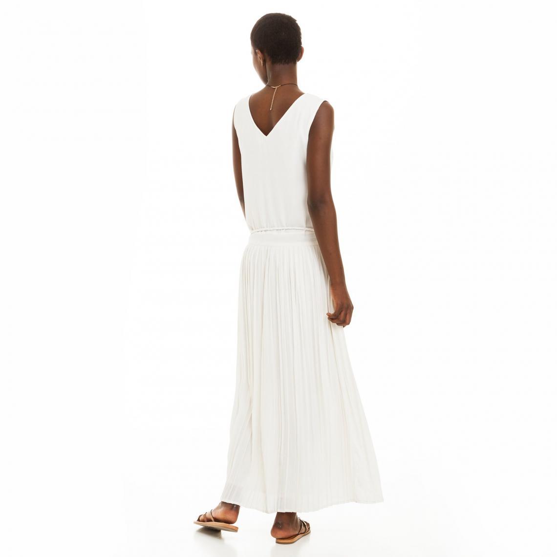 Sans Femme Blanc3 Longue Manches Suisses Plissée Robe SVLzGjqUMp