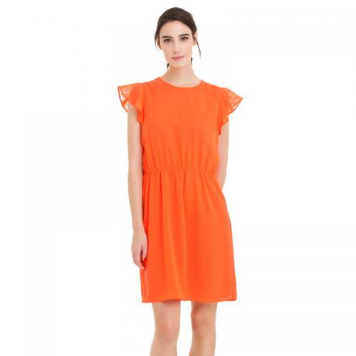 3 SUISSES Collection - Robe courte manches papillon encolure ronde plumetis femme - Orange - Robes de soirée, cocktail femme