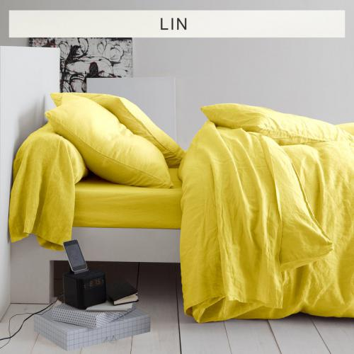 3 SUISSES Collection - Drap plat lin lavé uni - Jaune - Linge de maison