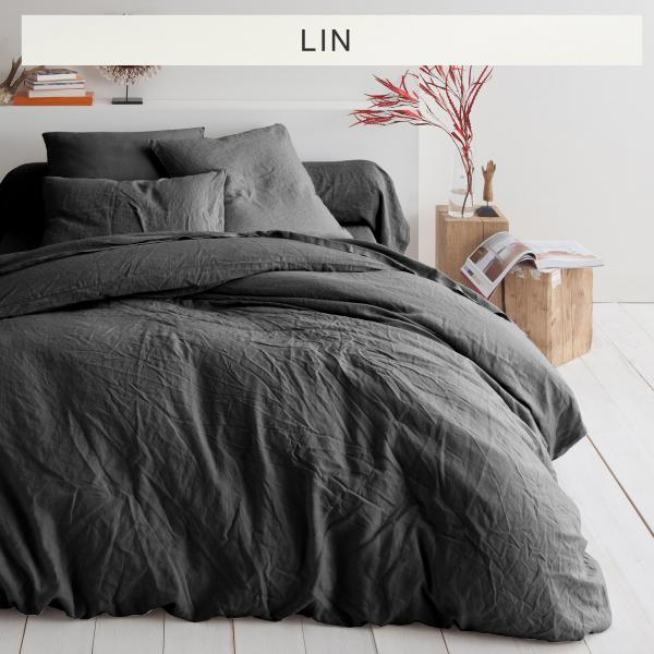 Housse de couette lin lavé uni - Gris Anthracite 3 SUISSES Collection Linge de maison