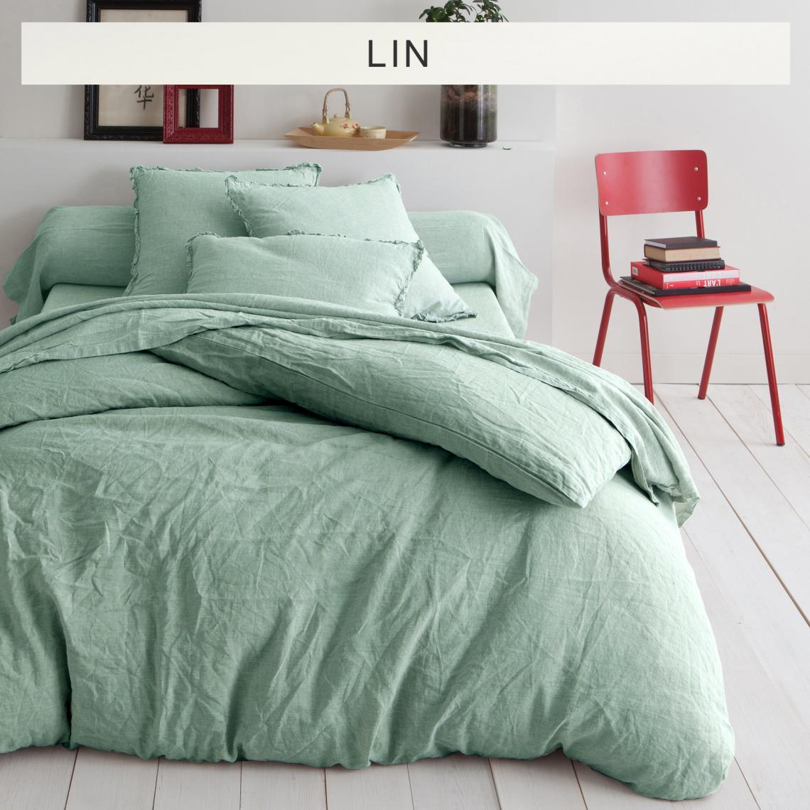 housse de couette lin lav uni vert d 39 eau 3 suisses. Black Bedroom Furniture Sets. Home Design Ideas