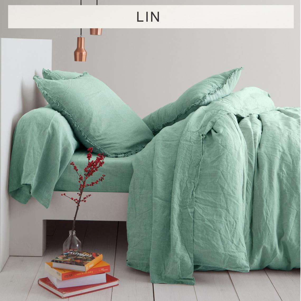 Housse De Couette Lin Lave Uni Vert D Eau 3suisses